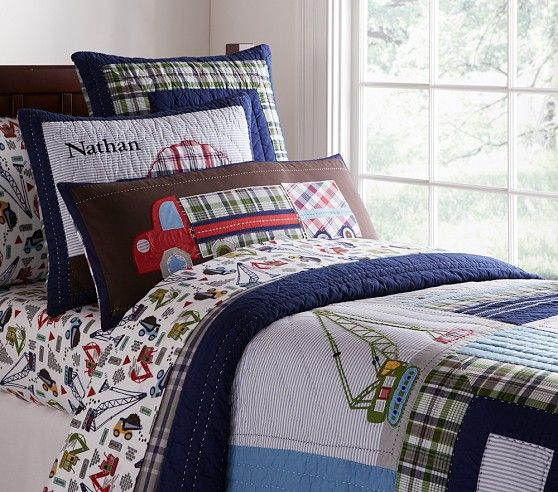 Busy Builder Construction Quilted Bedding | Pottery Barn Kids