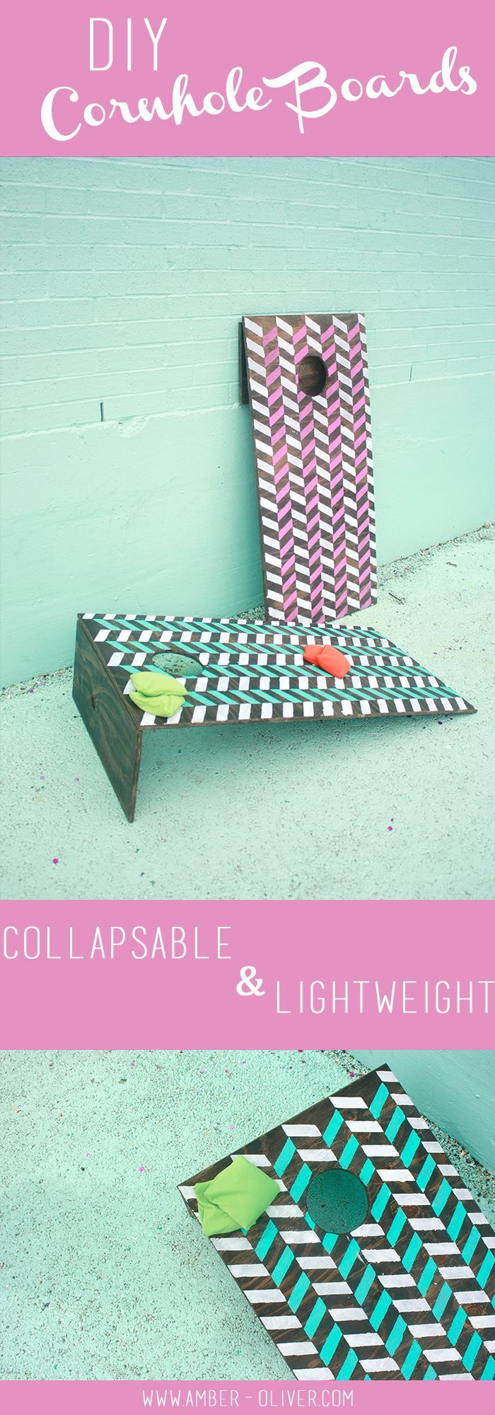 DIY Cornhole boards that are collapsible and lightweight! // http://Amber-Oliver.com