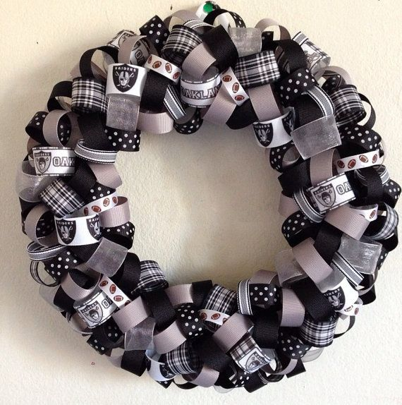 NFL+Oakland+Raiders+Ribbon+Wreath+by+KJsCraftFactory+on+Etsy,+$40.00
