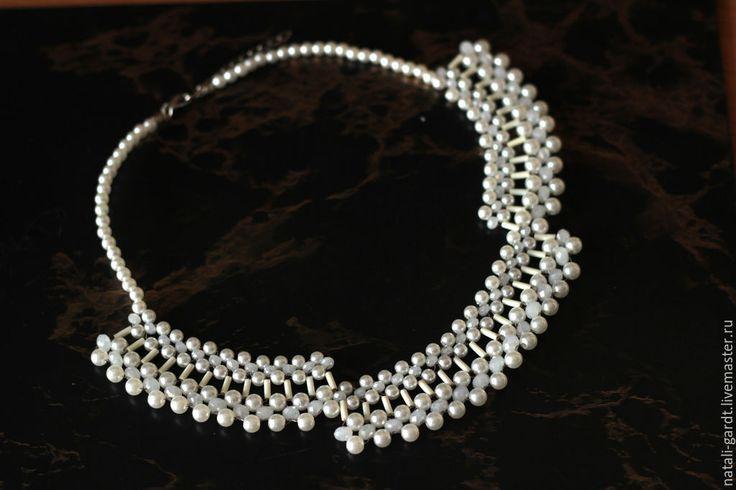 """Купить Свадебное ожерелье """"Первая любовь"""" Украшение на шею - белый, украшение на шею, ожерелье"""