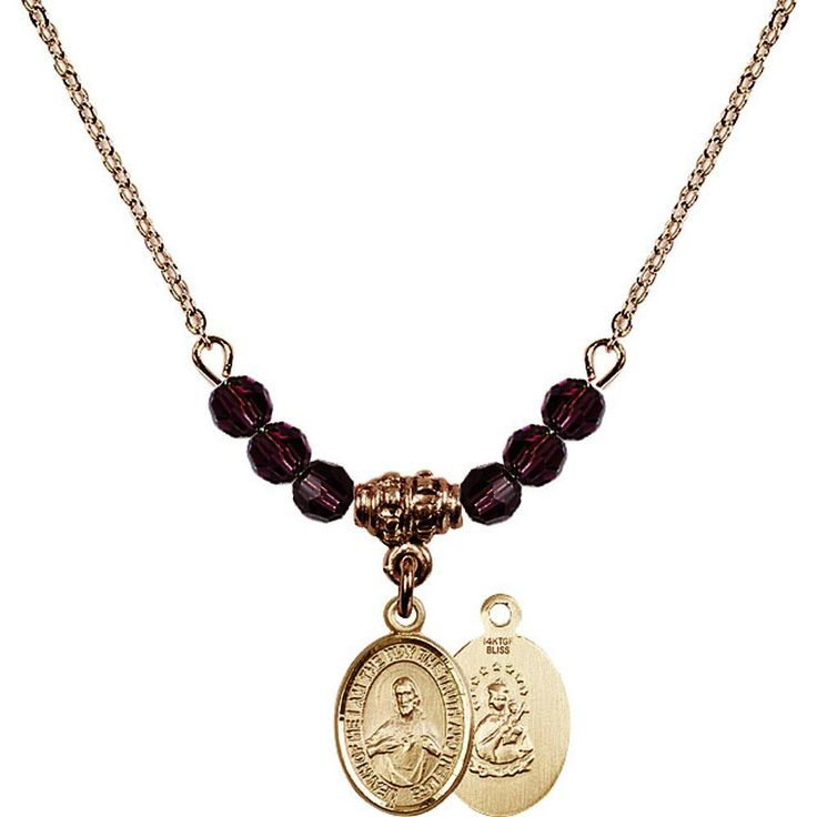 18-Inch Hamilton Gold Plated Necklace with 4mm Purple February Birth Month Stone Beads and Scapular Charm. 18-Inch Hamilton Gold Plated Necklace with 4mm Amethyst Birthstone Beads and Scapular Charm. Purple represents Amethyst, the Birthstone for February. Hand-Made in Rhode Island. Lifetime guarantee against tarnish and damage. Hamilton gold is a special alloy designed to have a rich and deep gold color.