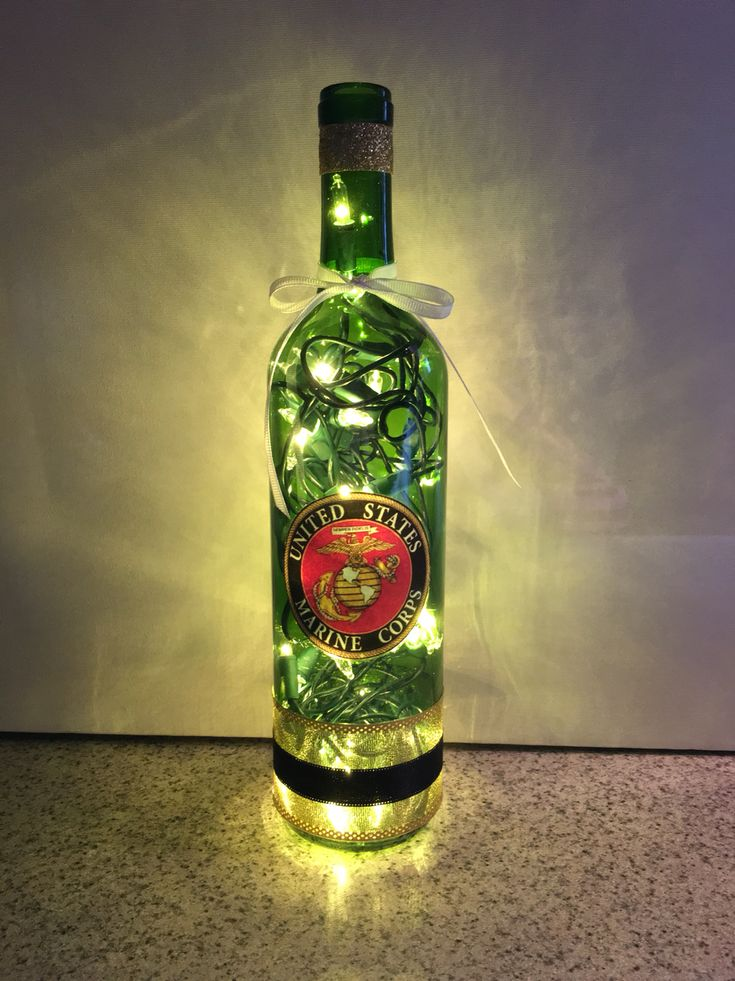 United States Marines wine bottle lamp, USMC bottle lamp, gift for Marine…