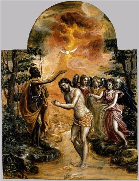 Baptism of Christ, 1568 - El Greco