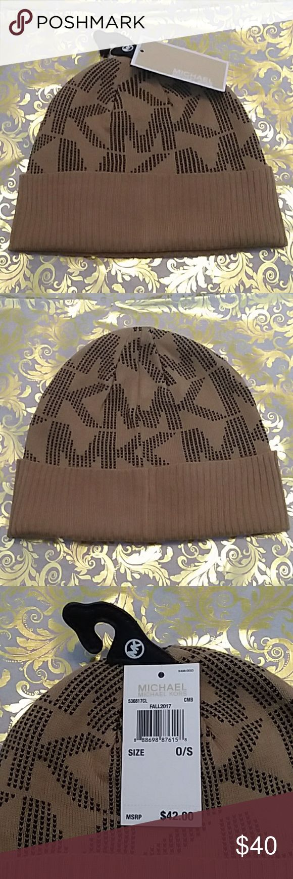Michael Kors Mocha and Black Beanie NWT Fall 2017 collection Michael Kors beanie.  A cute, warm knit winter hat with the signature MK woven into it. Mocha, tan or brown body with black details.  One size, 100% acrylic.  Offers and questions are encouraged! MICHAEL Michael Kors Accessories Hats