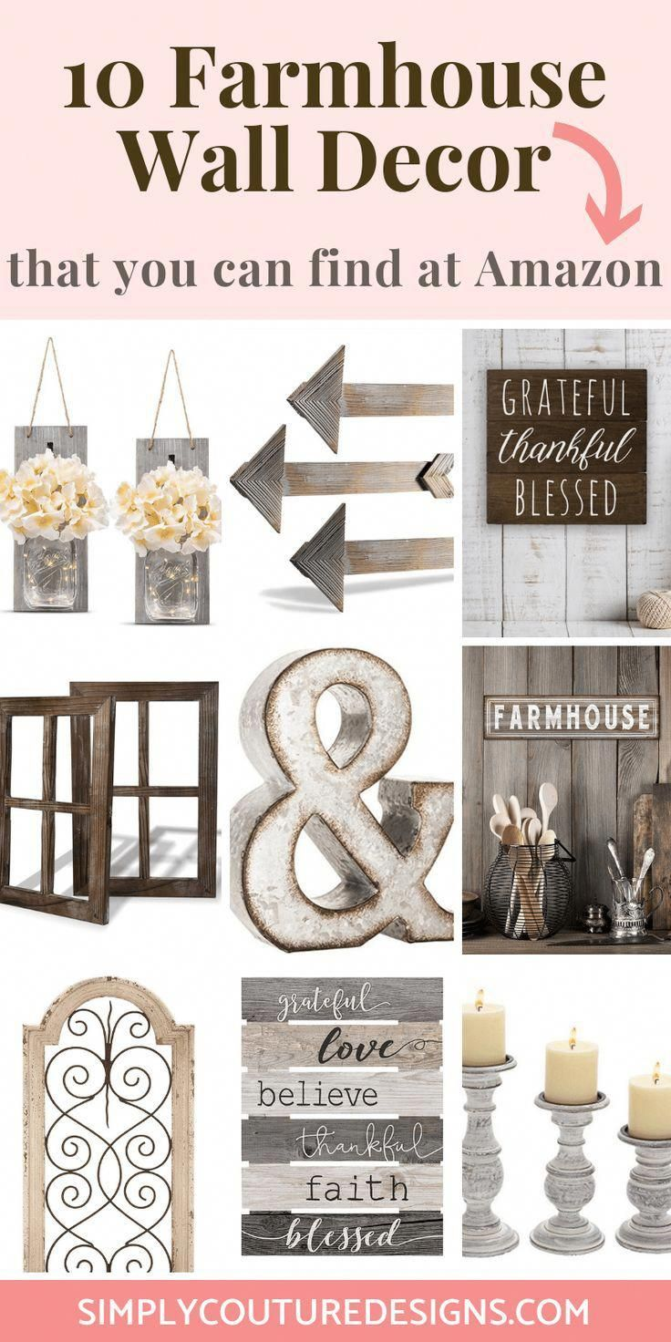 Farmhouse wall decor finds at Amazon. Look for farmhouse home