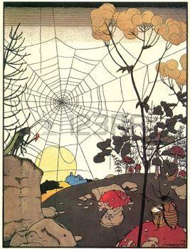 paesaggio con ragnatele - Illustrazioni dal racconto di Gregory Narbut popolare russa photo