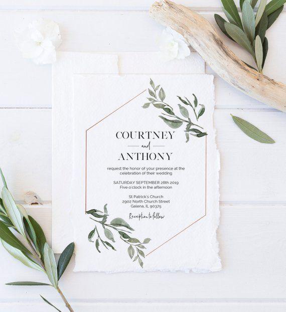 Greenery Wedding Invitation Template Invite Modern