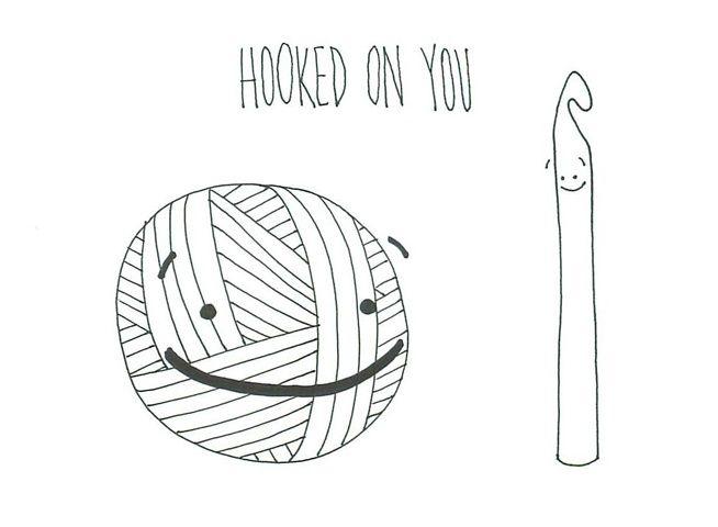 hooked on you - crochet yarn love humor Crochet Pinterest