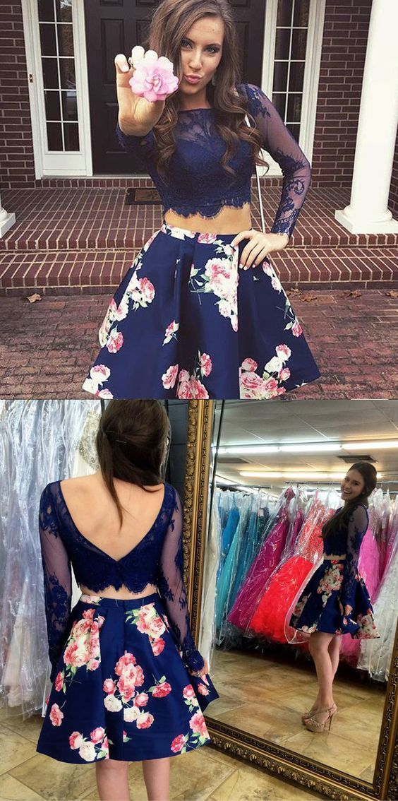 b9f6c45e56ea Cute Two Piece Bateau Long Sleeves Lace Short Blue Floral Homecoming Dress