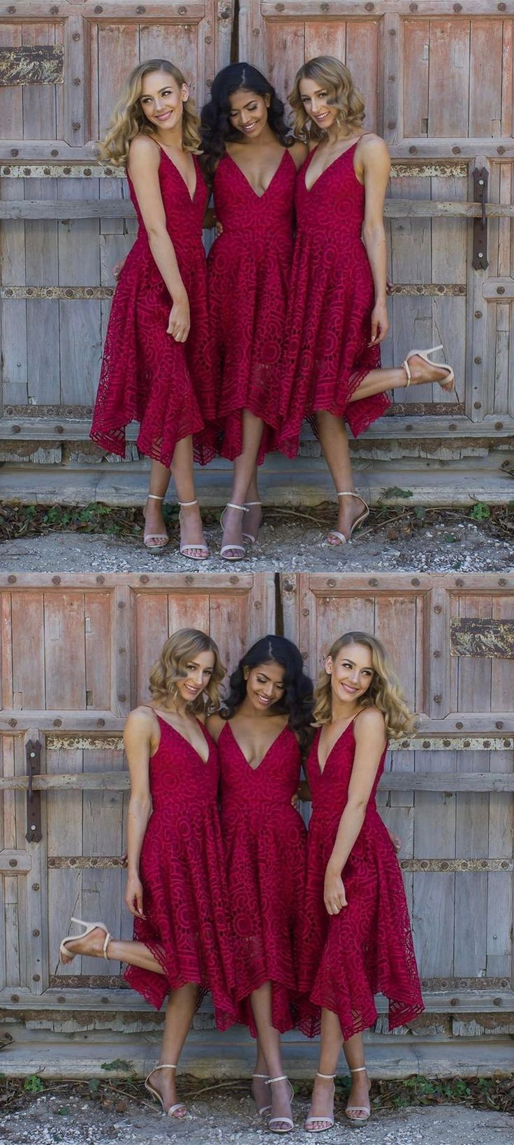 A-Line Spaghetti Straps Asymmetrical Red Lace Bridesmaid Dress, modest red lace boho bridesmaid dresses, unique spaghetti straps asymmetrical wedding party dresses #bohodress #lacedress
