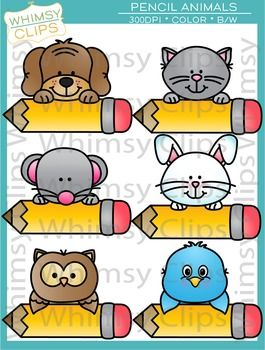 The Pencil Animals clip art set features 6 animals peeking over pencils. This set contains 12 image files, which includes 6 color images and 6 black & white images in png. All images are 300dpi for better scaling and printing.