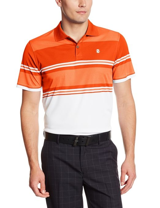 Designed for comfort and style this mens short sleeve engineered Oxford stripe golf polo shirt by Izod provides you with UV sun protection and moisture wicking properties