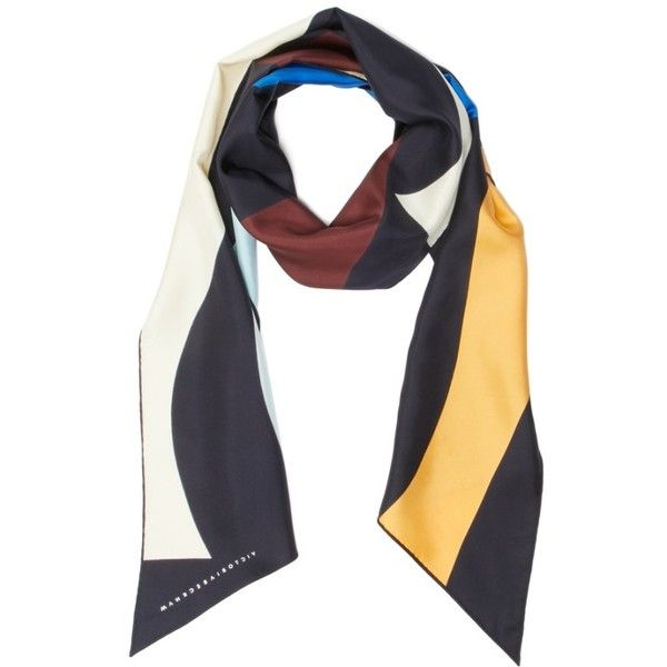 Women's Victoria Beckham Print Silk Rectangle Scarf (€510) ❤ liked on Polyvore featuring accessories, scarves, navy multi, victoria beckham, navy blue shawl, long shawl, pure silk scarves and navy blue scarves