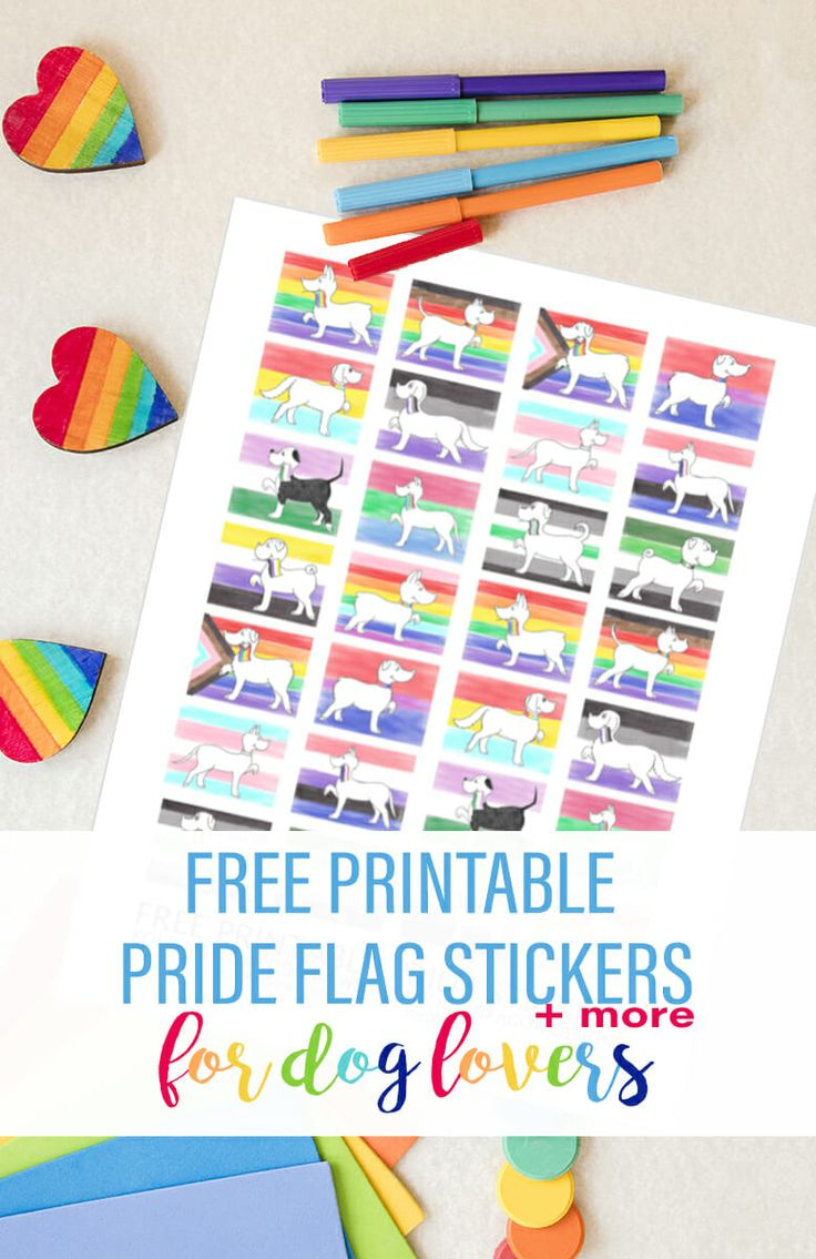 Free printable pride flag stickers more for dog lovers