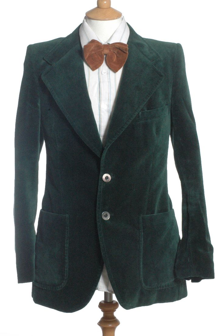 VINTAGE 1970'S BURTON GREEN VELVET SMOKING JACKET 36 XS in Clothes, Shoes & Accessories, Men's Clothing, Coats & Jackets | eBay