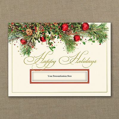 69 best seasons greetings holiday cards personalized images on christmas greens holiday card your personalization shows through the die cut window and essentially becomes business holiday cardspersonalized reheart Images