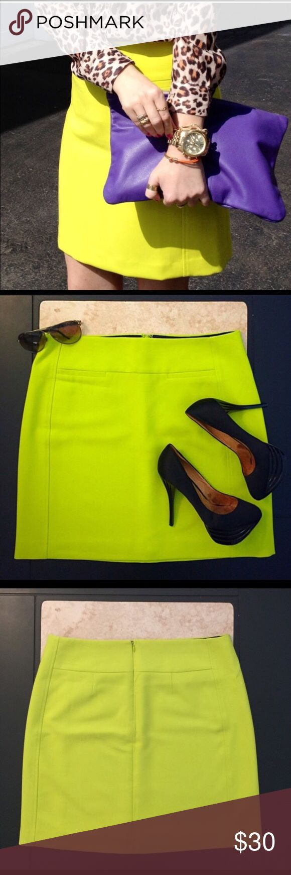 Loft neon yellow pencil skirt size 12 Adorable BNWOT Loft neon yellow pencil skirt. This would be adorable dressed up or down! The length is 19 inches. It has a structured feel, two front faux pockets, is lined, and has a hidden zipper in the back. Perfect for the season! ❤️ LOFT Skirts Midi
