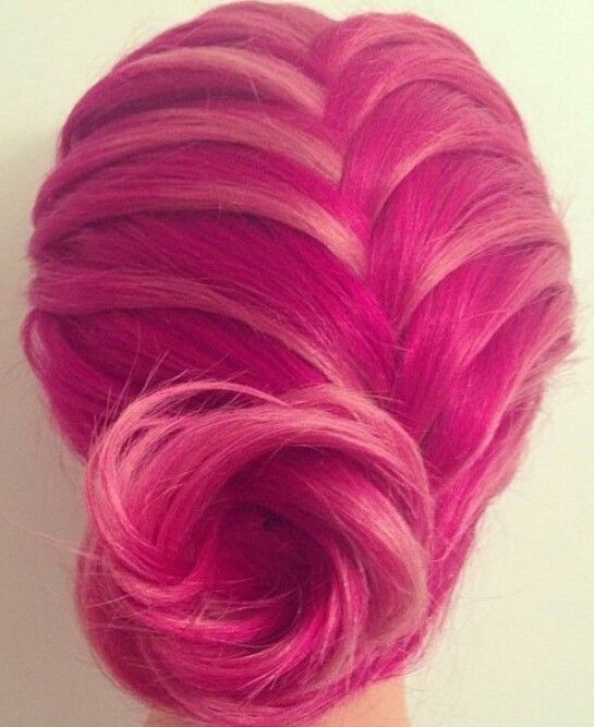 Pink dyed hair