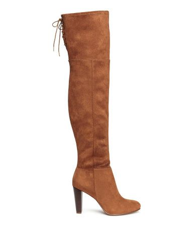 Brown. Thigh-high boots in imitation suede. Soft leg section with slit and lacing at top, half zip, and rubber soles. Heel height 3 1/4 in. - size 7