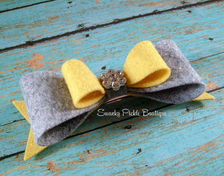 Yellow & Gray Wool Felt Hair Bow  Mustard by SwankyPickleBoutique, $8.95