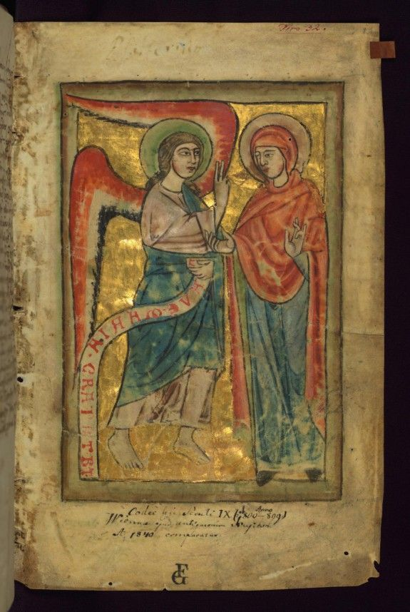 Annunciation---Monastery in the Diocese of Augsburg, mid 13th century (calendar and litany)