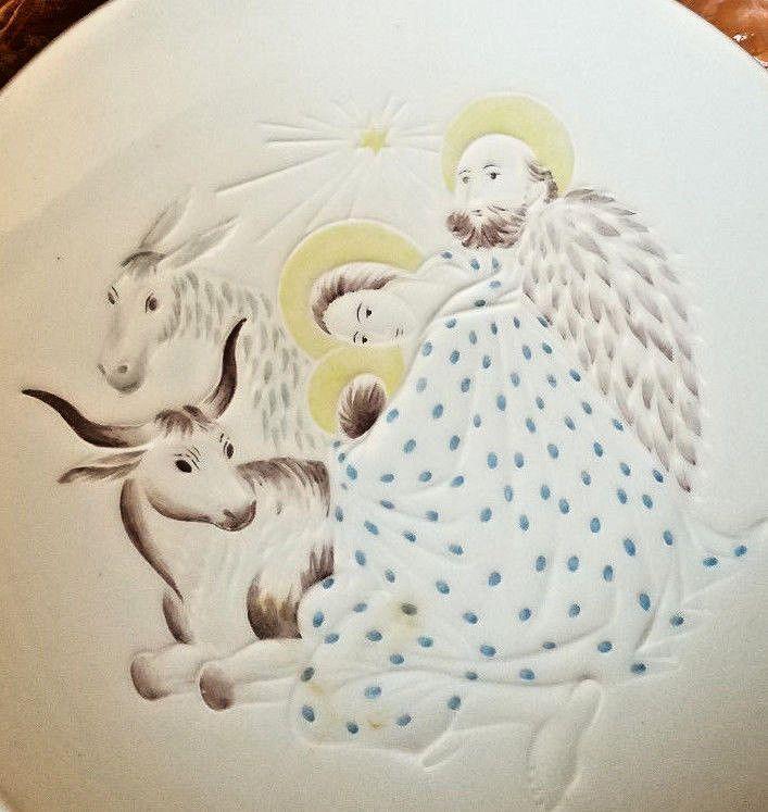 1940's  KPM Nativity Christmas Plate  Selb  Porzellan Porcelain  Orb & Sceptre