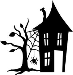 Haunted house silhouettes clip art