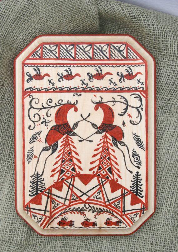 Decorative Russian reindeer dancing, Russian Folk Art Fish, Pines and Reindeer