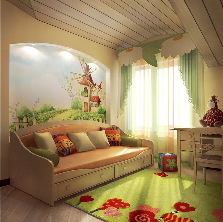 Kid's room, soo cute and unisex! From some weird foreign site with neat braid pics and this, lol.