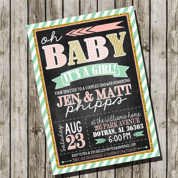 Couple Baby Shower Invitation | Pink Mint Gold Chalkboard | Oh Baby Custom Digital Invitation