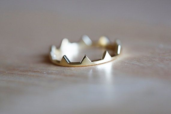Gold Crown Ring Triangle Ring Gold Triangle Ring by MinimalVS, $293.00