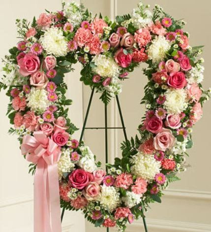 Always Remember Pink Floral Heart Tribute