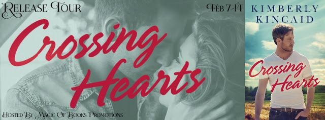 New Contemporary Romance; CROSSING HEARTS by Kimberly Kincaid  CROSSING HEARTS  Cross Creek series book 1  by Kimberly Kincaid  Genre: Contemporary Romance  Hunter Cross has no regrets. Having left his football prospects behind the day he graduated high school hes happy to carry out his legacy on his familys farm in the foothills of the Shenandoah. But when a shoulder injury puts him face-to-face with the high school sweetheart who abandoned townand himtwelve years ago Hunters simple life…