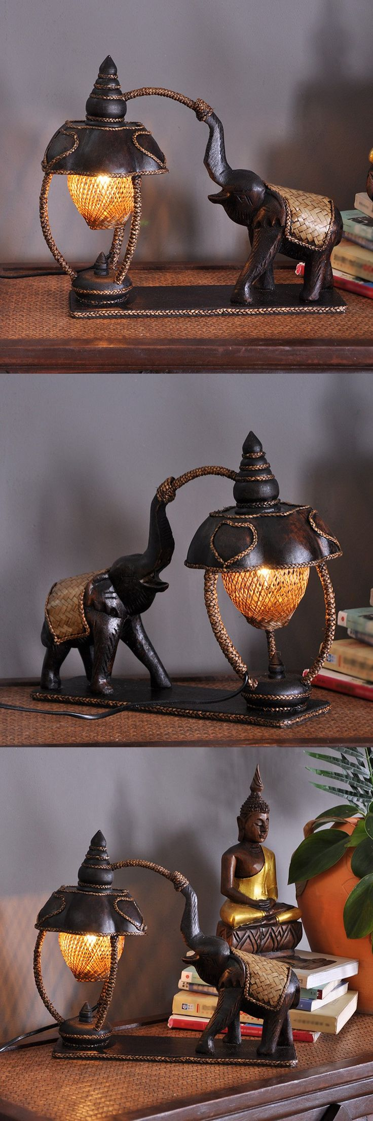 Desk Lamps Indoor Lighting Southeast Asian Elephant Bamboo Lamp Decoration Home Furnishing Hotel Table Lamps $101.75