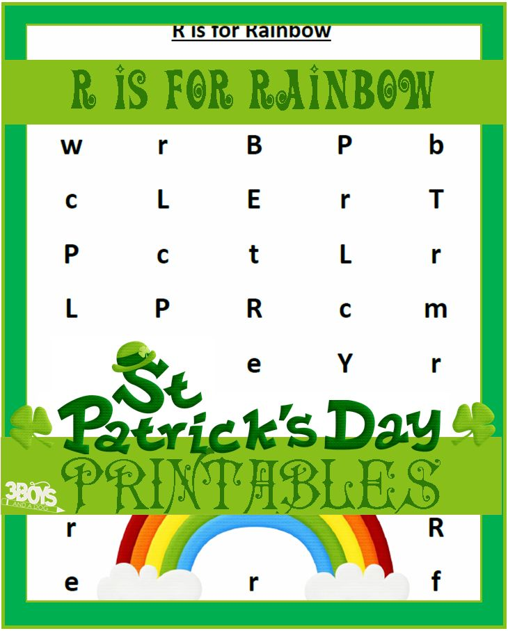 R is for Rainbow Saint Patricks Day Printables: R is for Rainbow