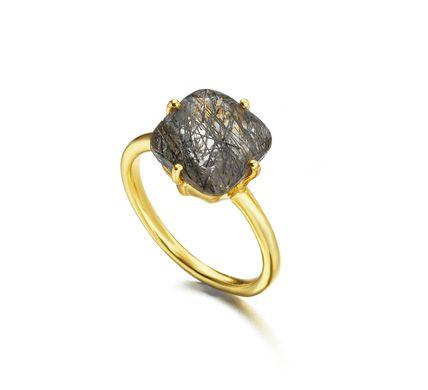 Anillo de plata recubierto de Oro con Cuarzo Rutilado | LeCarré