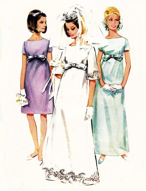 1960s Empire Line Wedding Dress pattern Butterick 4377 Bridesmaids Full or Street Length Vintage Sewing Pattern Size 14 Bust 34 UNCUT FF