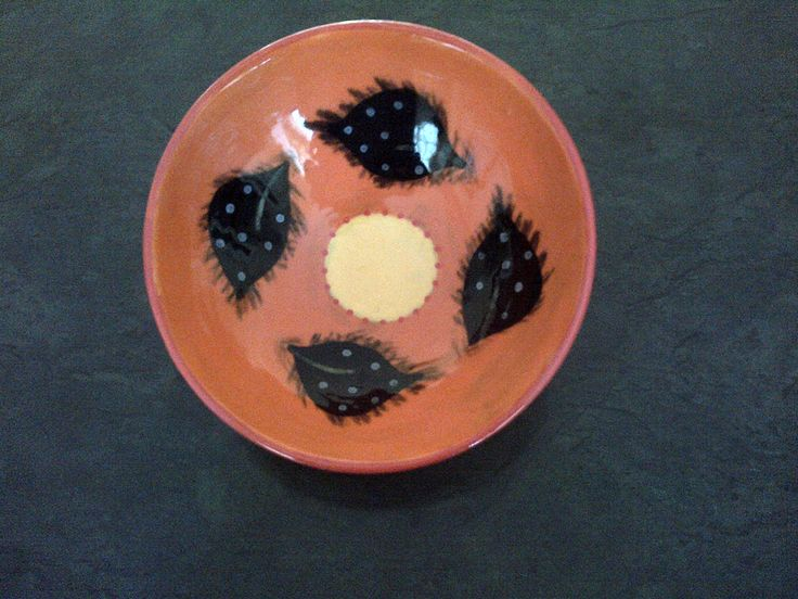 Hand painted ceramic breakfast bowl