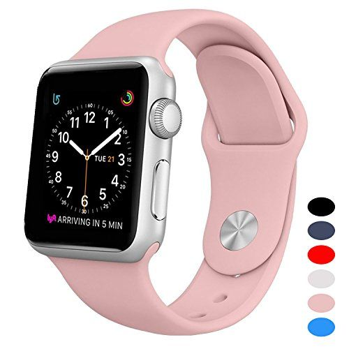 BANDEX ÂSport Band For Apple Watch 42mm Soft Silicone Strap Replacement Wristbands For Apple Watch Sport Series 3 Series 2 Series 1(Light-Pink M/L)