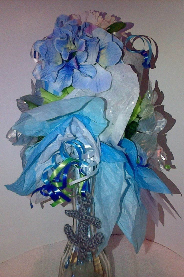 Left Side Close Up of Small Onesie Bouquet