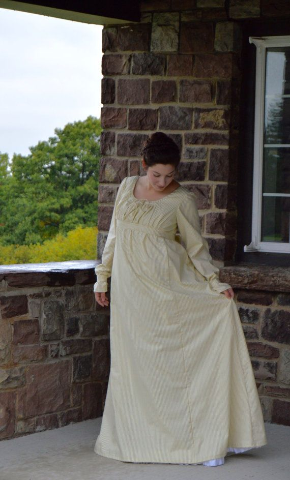 1810's Jane Austen/ Regency Era/ Striped Day Gown with Bow