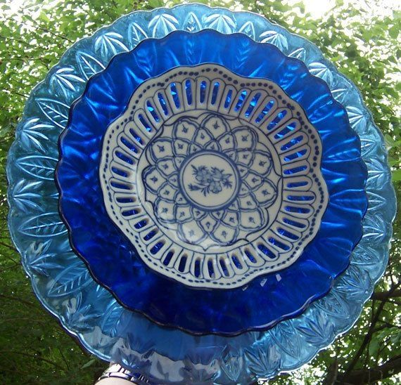 Cobalt Blue Glass Flower Garden Yard Art By Judi Magnus