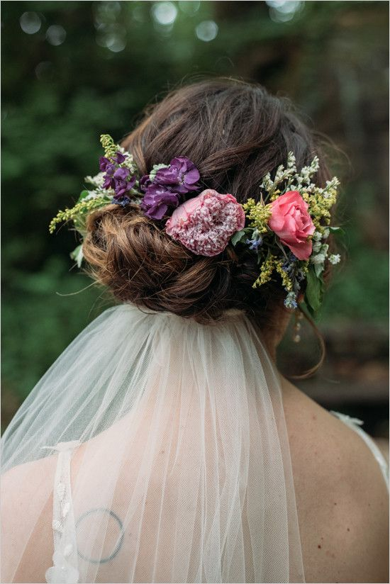 Bridal Flowers In Hair With Veil : Ideas about flower crown veil on bride