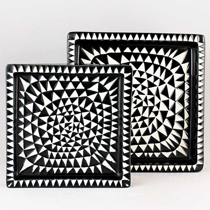Stig Lindberg (Domino 1955) Two Iconic Triangles Dishes (Black/white)