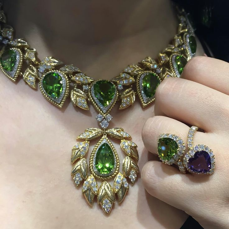 Veschetti Jewels Italia_ Mix and match our Costanza necklace with Nadja ring, the contrast between Peridot and Amethyst compliment both pieces...Italian charm with VeschettiCollection!