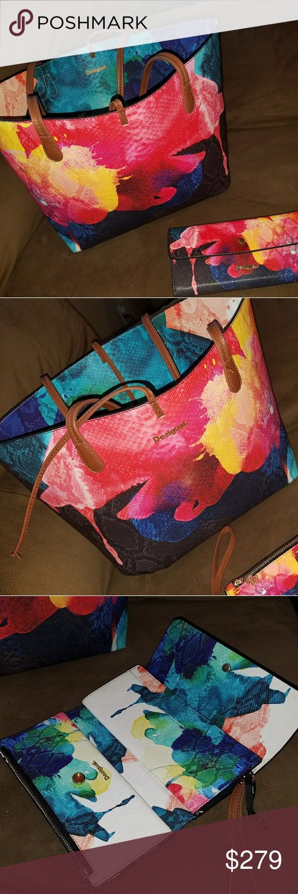 Desigual Handbag & wallet Reversible Handbag and wallet. Wallet is NWOT  Handbag has been used.   Some pen marks on white part as it was only used as interior. Desigual Bags Shoulder Bags