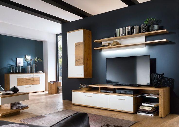 Wohnwand Verona Eiche Bianco teilmassiv 20728 Buy now at   - moderner wohnzimmerschrank mit glastüren und led beleuchtung