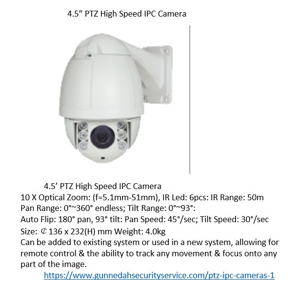 "4.5"" PTZ IPC CCTV camera. Ideal for systems wher constant observation os necessary, Get better image quality & resolution. Allows for remote control of Pan Tilt  & zoom."