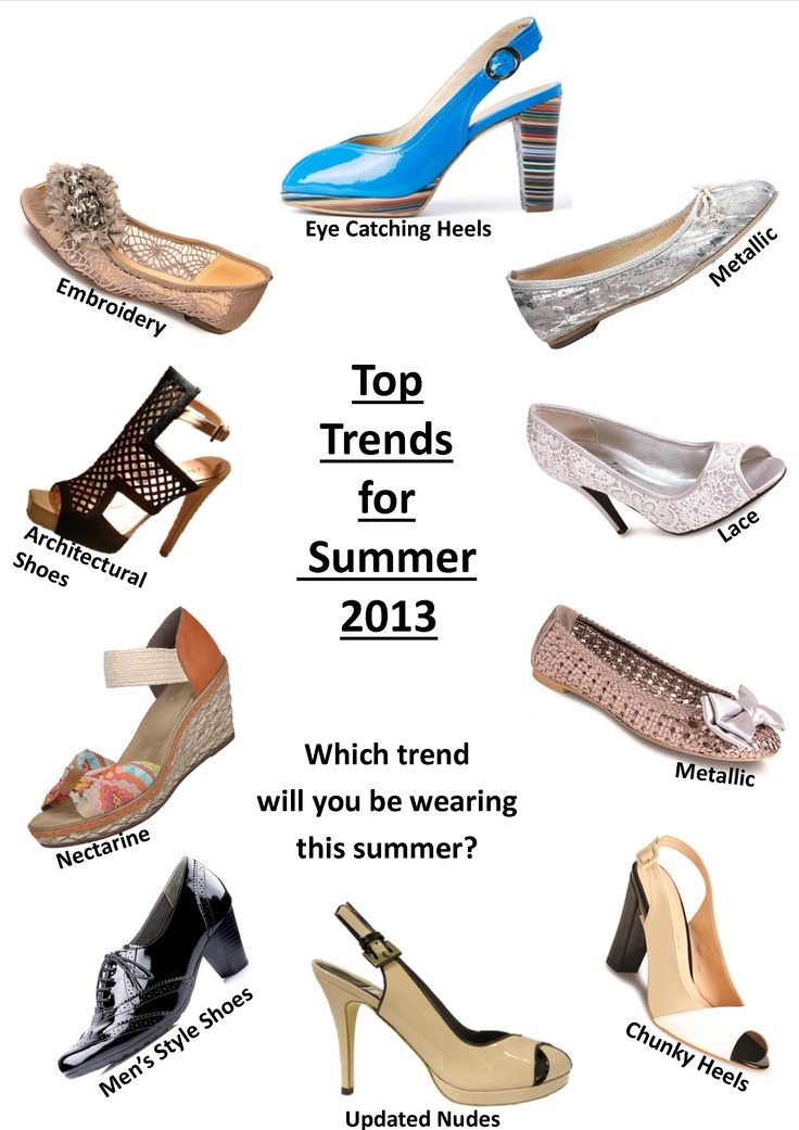 Top Trends for Summer 2013  Buy all these styles from Holts Shoes in Whalley or go online at www.holtsshoes.co.uk
