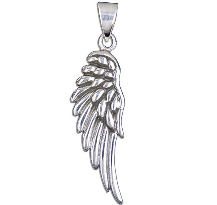 Anhänger Engelsflügel aus 925er Sterling Silber Maße: 42 x 13 mm Inklusive einem schwarzem Lederband (Länge ca 80cm, zum Knoten) als Halskette Lieferung in einer stabilen schwarz-weißen Geschenkschachtel mit...